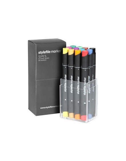 Pack x12 rotuladores Stylefile Twin Marker Main set C