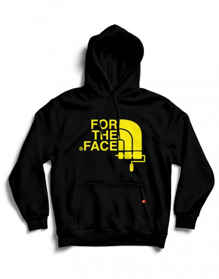 Sudadera FOR THE FACE negra con capucha-logo amarillo