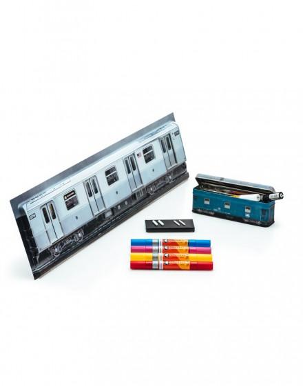 Estuche tren +rotuladores acrilicos doble punta