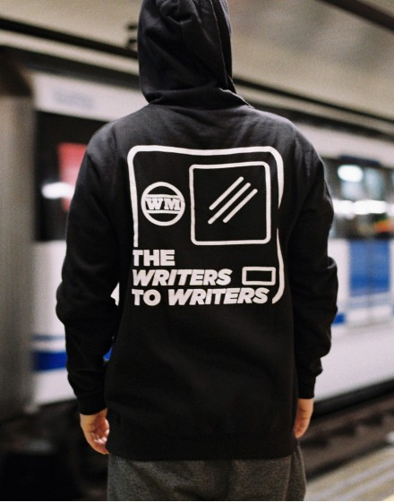 "Sudadera ""WRITERS TO WRITERS CABECERA"" Negra con capucha"