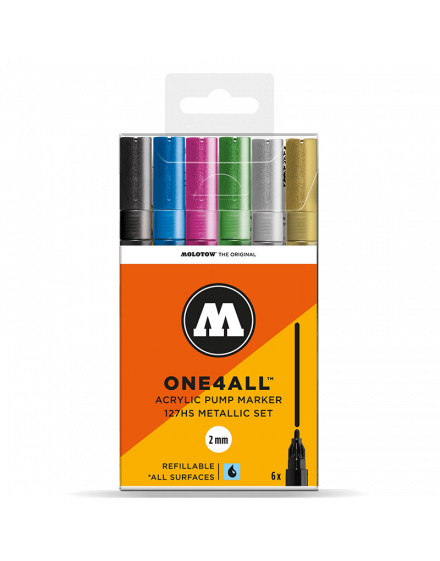 pack 6 rotuladores acrilicos molotow one4all metallic set 3
