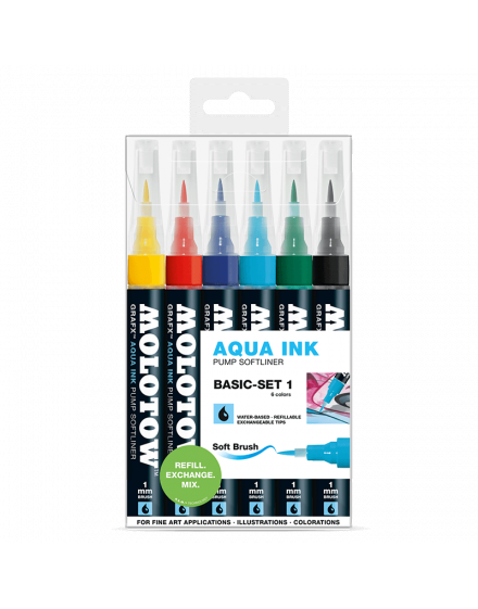 Pack 6 rotuladores acuarelables Molotow grafx 1mm set