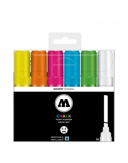 Pack 6 rotuladores Molotow Chalk 4-8mm fluorescentes