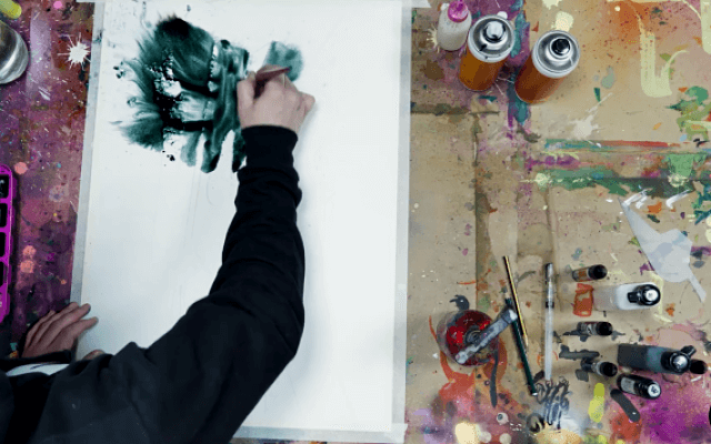 acuarela sobre papel con Nem1977 utilizando la técnica mixta de pintura