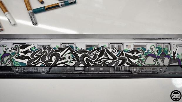 pintar con rotuladores acrilicos kaze nyc train