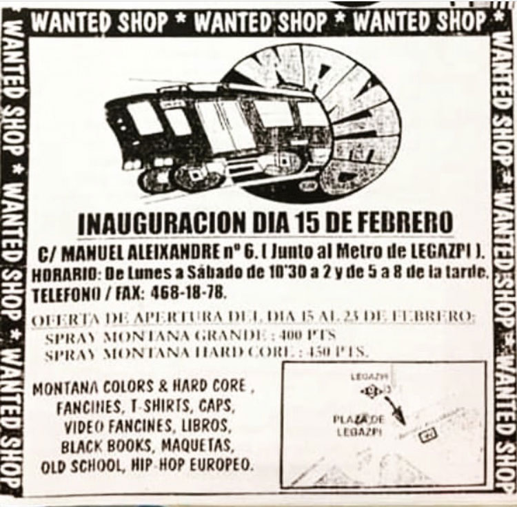 cartel primera tienda de graffiti madrid wanted shop